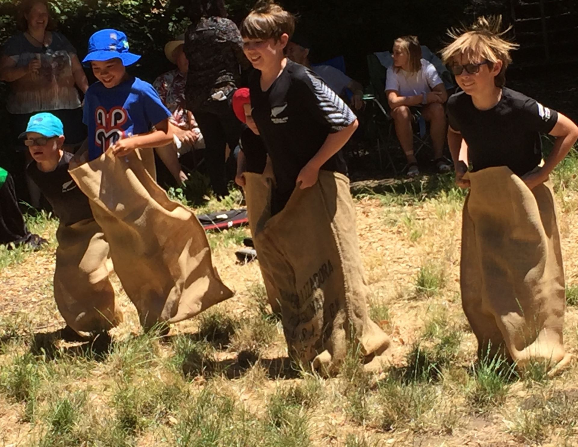 sack race at 2019 sf kiwis picnic
